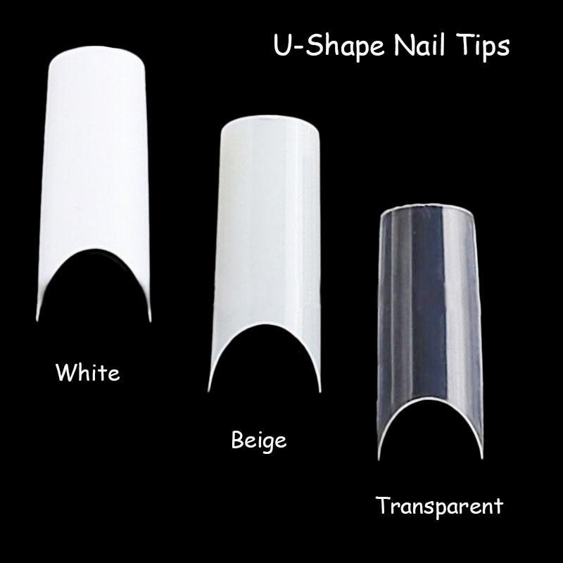 100pcs Nail Art U shape Half Cover French Manicure False Nail Tips ...
