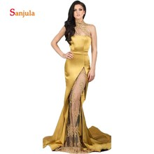 High Neck Gold Satin Evening Dresses Gowns Long Lace Appliques Leg Slit Formal Party Dress for Women vestido de fiesta largo D04
