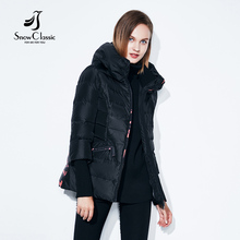 SnowClassic spring and autumn European fashion short jacket thin cotton warm breathable hat printing windbreaker