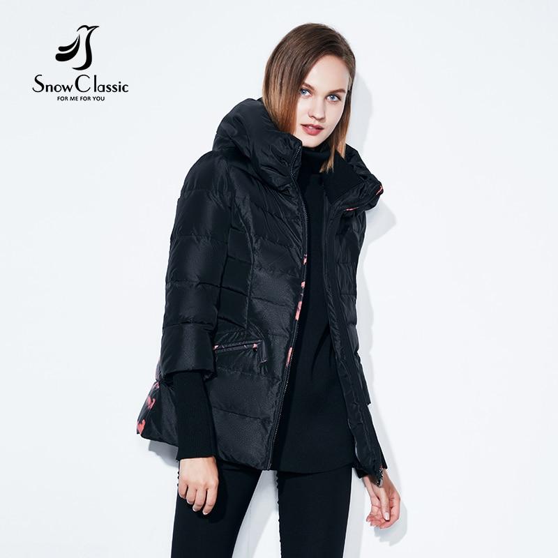 SnowClassic spring and autumn European fashion short jacket thin cotton warm breathable hat printing windbreaker