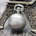 Роскошные Матовый Серебряный Шар Ожерелье Кулон Кварцевые Карманные Часы С Длинной Цепью, Свободное Падение Доставка