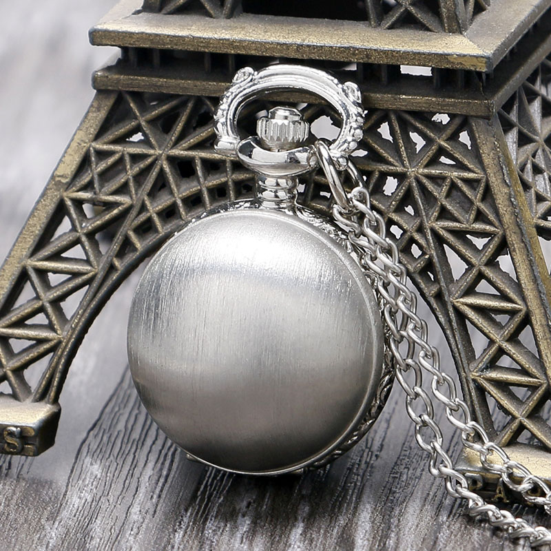 Luxury Matte Silver Ball Necklace Pendant Quartz Pocket Watch With Long Chain Free Drop Shipping