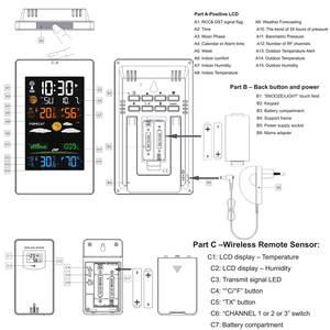 Image 4 - FanJu FJ3389 תחנת מזג דיגיטלי מדחום מדדי לחות חיישן אלחוטי LCD צבע מעורר לוח שנה קיר שולחן שעון שולחן שעון