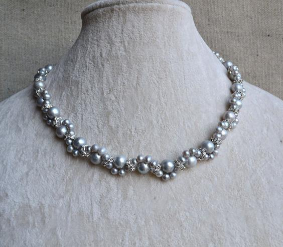 Perfect Gray Real Pearl Jewellery,AA 4-8MM Natural Pearl Necklace,Fashion Lady's Gift Jewellery,Pearls Crystal Flower Necklace luxury artificial crystal pearl flower necklace