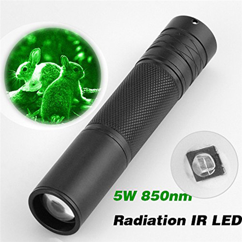 Black 5W 850nm LED Infrared IR Flashlight Torch Zoomable For Night Vision Scope