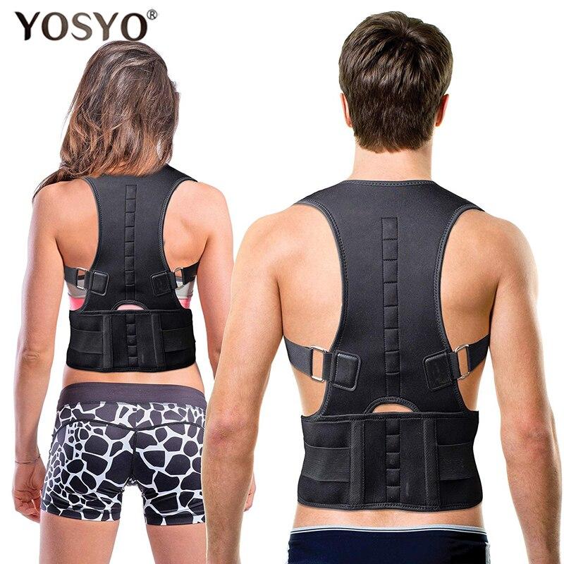 YOSYO Posture Corrector Brace Posture Corrector Terapia Magnética Cinto de Suporte de Ombro Ajustável Cinta de Volta NO Slouching