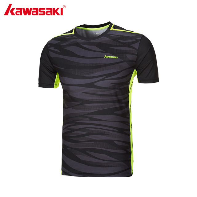 KAWASAKI Quick Dry Men's Fitness T-Shirt Short Sleeve 100% Polyester Breathable Running Badminton Sports T Shirts ST-171022