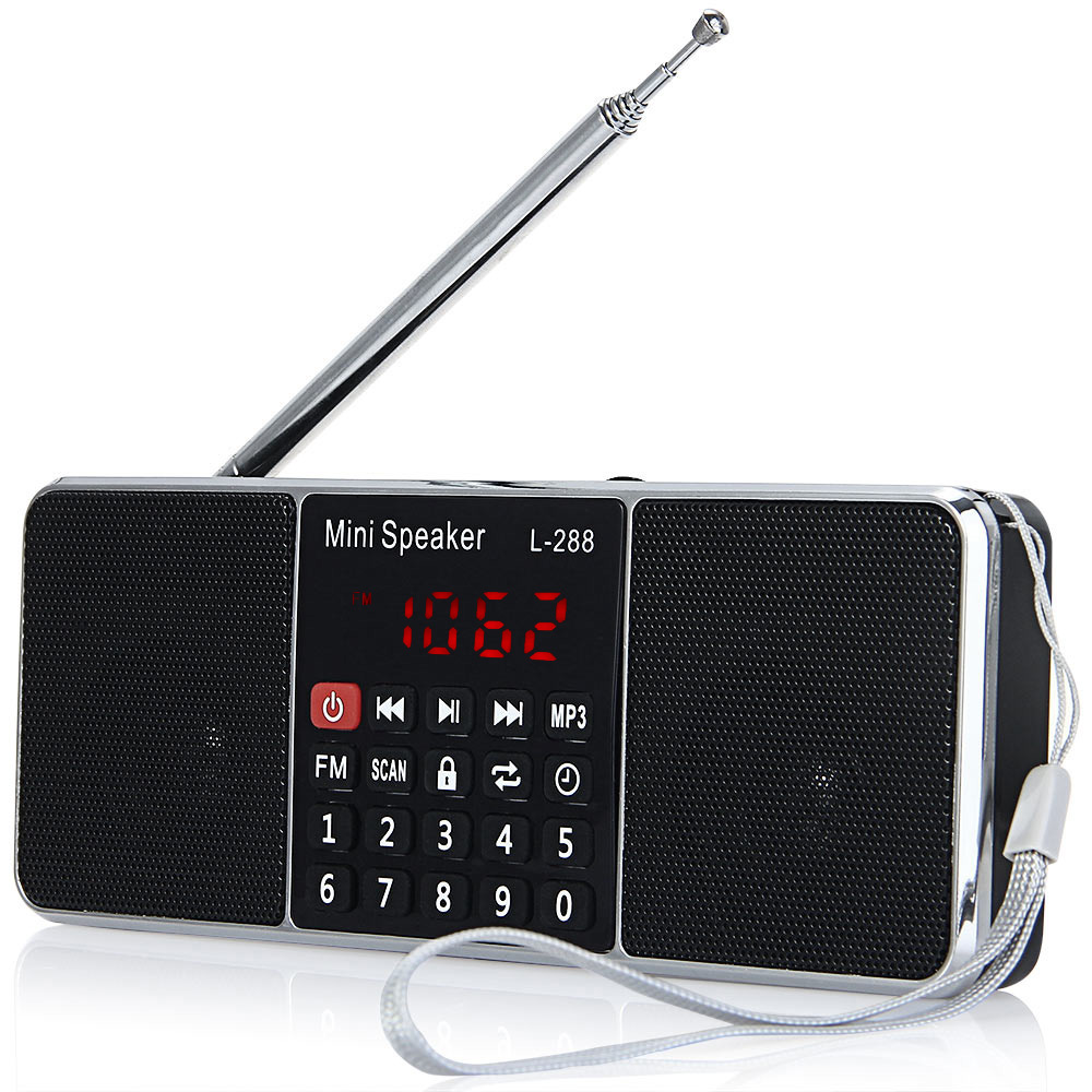 L-288 Mini Portable FM Radio Speaker Stereo Music Player with TFCard USB Disk LCD Screen Volume Control Rechargeable Loudspeaker l 288 portable fm radio stereo speaker mp3 music player double loudspeaker with tf card usb disk input gift for parents
