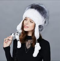 New Whole Rabbit Rabbit Hat Fashion Women's rabbit fur earmuffs fox fur hat weaving pendant hat fur hat