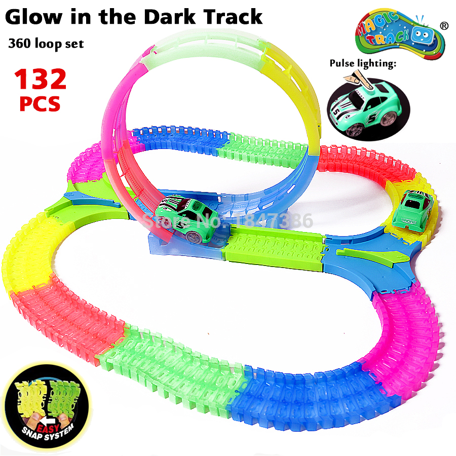 Spinning DIY Glow race track 360 Degree Stunt Loop Glow in the Dark Flexible Assembly Electric Car Track with Light Up Race Car