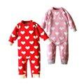 Jersey de Punto bebé Mameluco 0-24 Meses 100% Algodón Del Diseño Del Corazón de Primavera Otoño Invierno de La Muchacha del Mono Del Bebé ropa
