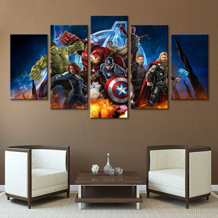 Painting Wall Art Modular Framework HD Modern Printed 5 Panel Movie Avengers Poster For Living Room Pictures Canvas Home Decor