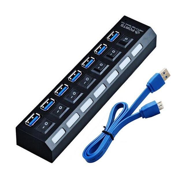 USB3.0 HUB 3.0 Super Velocidade 5 Gbps USB 7 Portas USB 3.0 HUB Divisor USB Com On/Off Switch Platooninsert para Periféricos de Computador