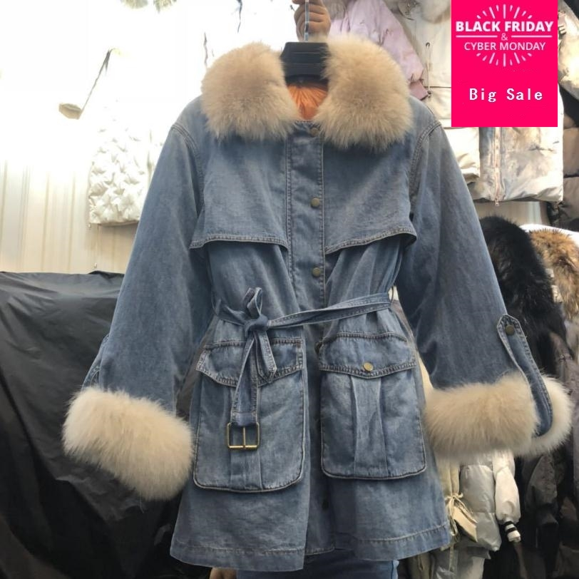 2019 winter new fashion brand denim real fox fur   down   jacket female natural real fur collar thicker warm longer   down     coat   wq252