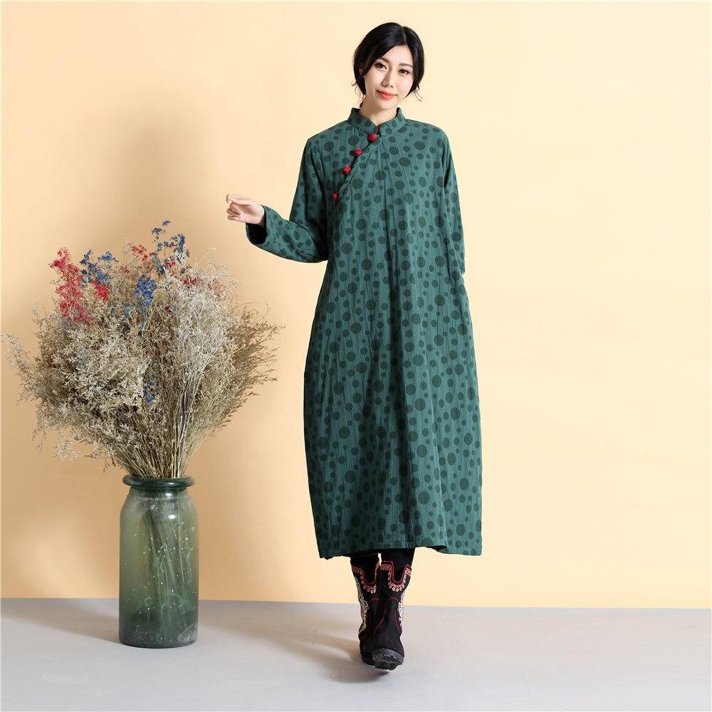 Blu Ispessimento Vestito Abito D672 Lino Sciolti verde Tenere Cotone Invernale Cinese Letteratura Dal Abiti E Caldo Autunno In Stile Casual wpxUqYxz