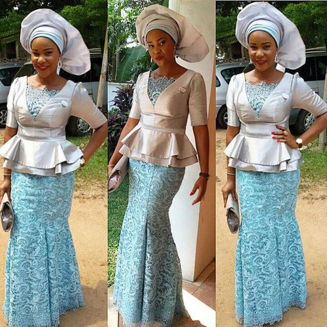 Vestido De Festa Longo 2018 Nigeria Woman Dresses Lace Mermaid Ice Blue Long Formal Gowns