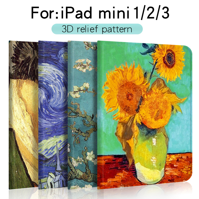 For Apple ipad mini 1/2/3 case protective Smart sleep 3D embossed painted pattern Full package soft shell 7.9 inch A1454 A1590