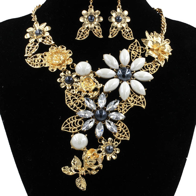 New Top Quality Crystal Bridal Jewelry Sets Big Size Gold Turkish