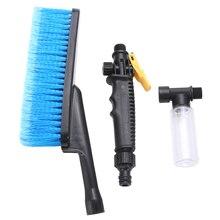 Cepillo para limpieza lavado de coche con mango largo, suave, interruptor de flujo de agua, botella de espuma, rueda de pulverización, parabrisas