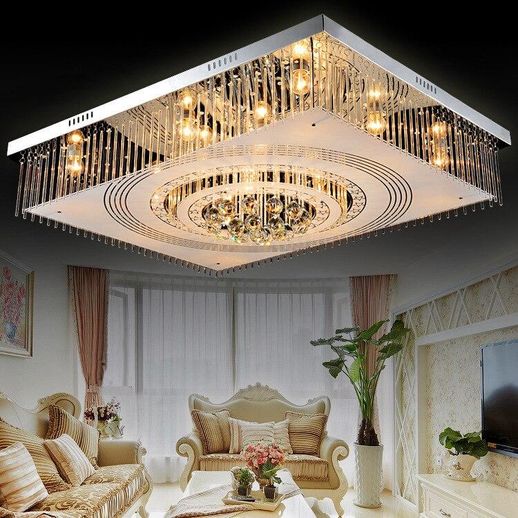 ᗜ LjഃCrystal Ceiling Light Remote Controller E27 Luxury Modern