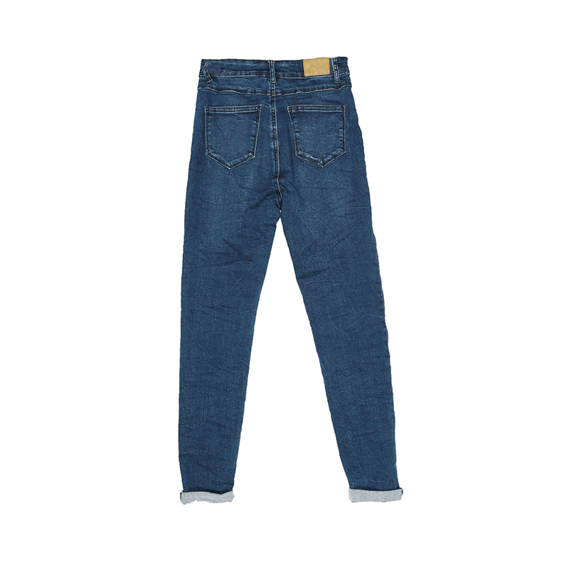 My Will Jeans Dark Blue High-Belt Button Jeans (7126) Made In China