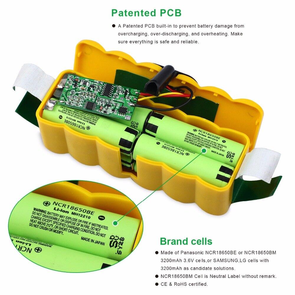 6.4Ah 14.8 V batterie li-ion pour iRobot Roomba 500 600 700 800 Série 510 530 550 560 580 620 630 650 760 770 780 790 870 880 R3 - 2