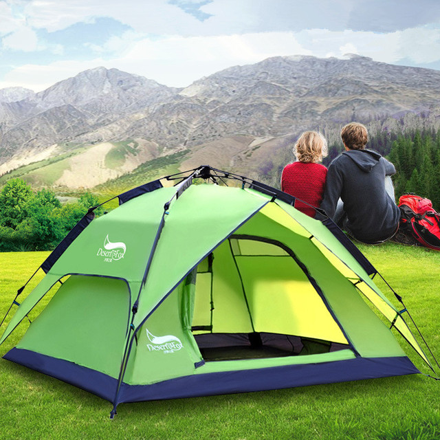 Campling tent new outdoor automatic tent three-color beach tent fashion double bunk tent
