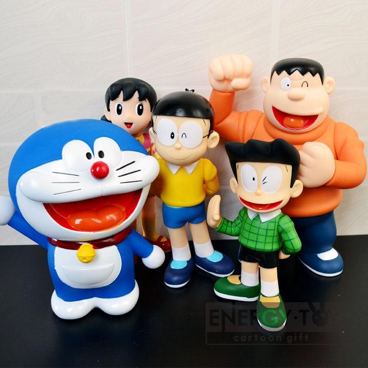 5pcs set big size anime doraemon family nobita nobi takeshi kouta