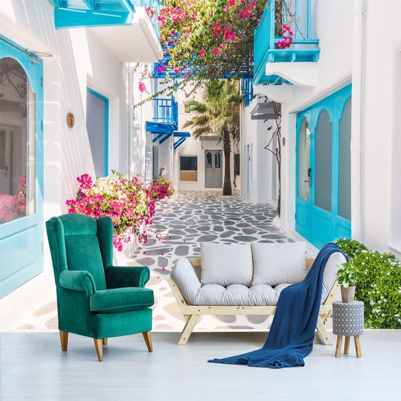 Custom 3D Mural Wallpaper Greece Santorini Love Sea Mural Wallpaper Living Room Bedroom Papier Peint Mural 3D Photo Wall Paper