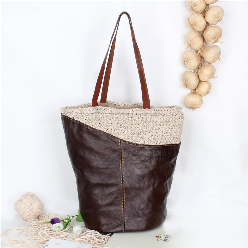 Free shipping Handmade cotton fiber splicing leather handbag Woven bag