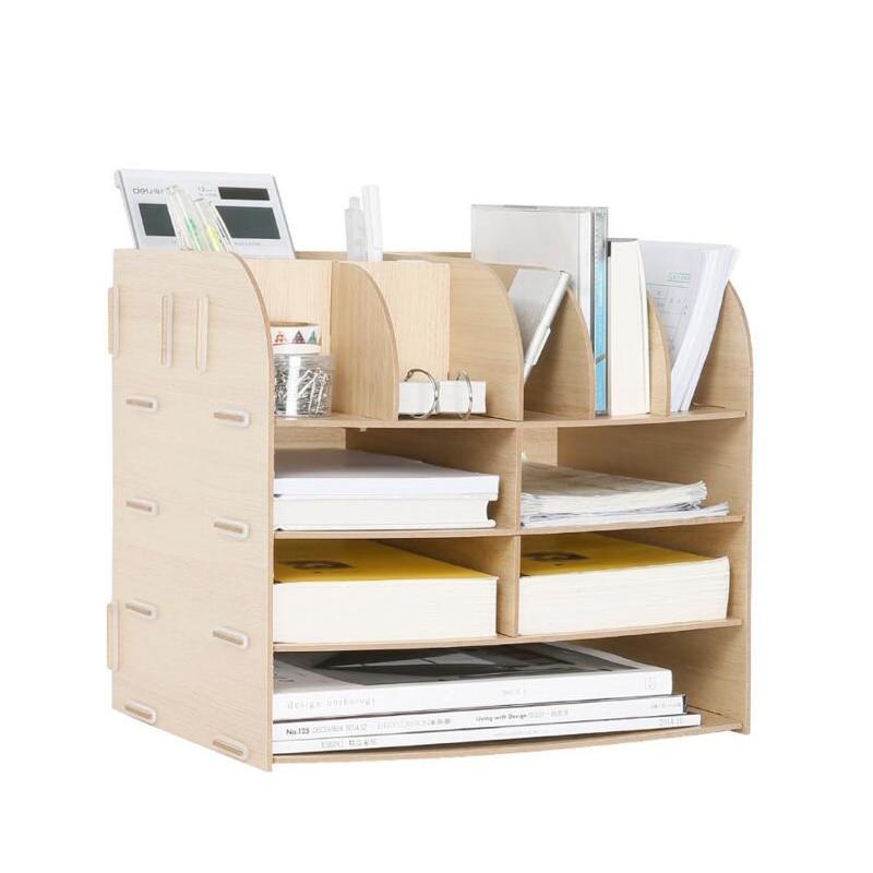 Bricolage bois fait à la main bureau organisateur fournitures scolaires bureau accessoires organisateur 13 blocs fichier plateau livre support stockage plateau