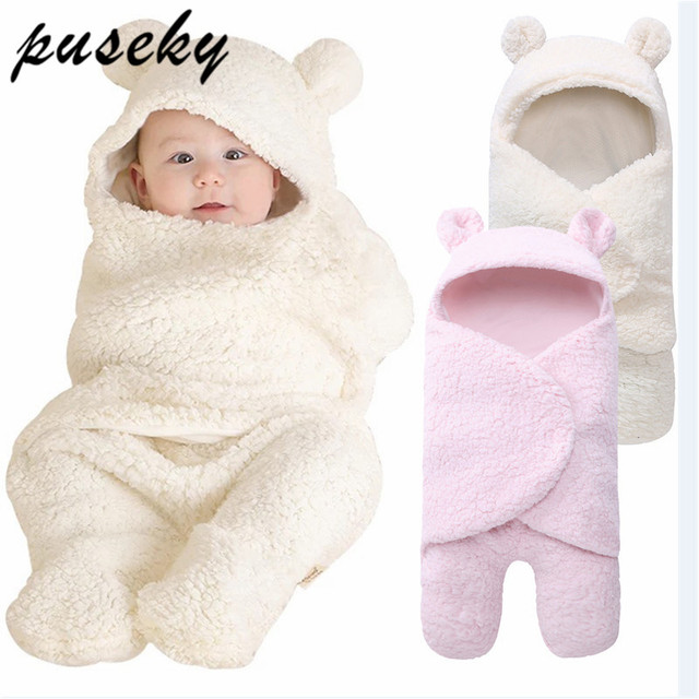 Baby Blanket Warm Cartoon Ears Toddler Envelope Swaddle Winter