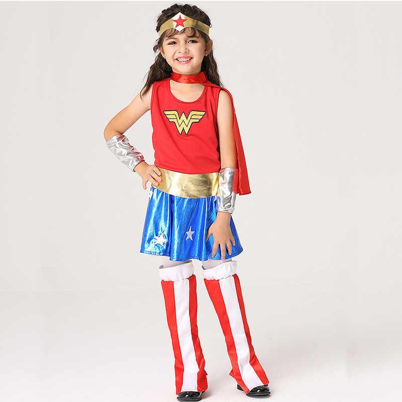 Wonder Woman Halloween Costume Kids.Girls Wonder Woman Costume Children Supergirl Fancy Dress Dc Superhero Cosplay Princess Diana Outfit Kids Halloween Costume 2018