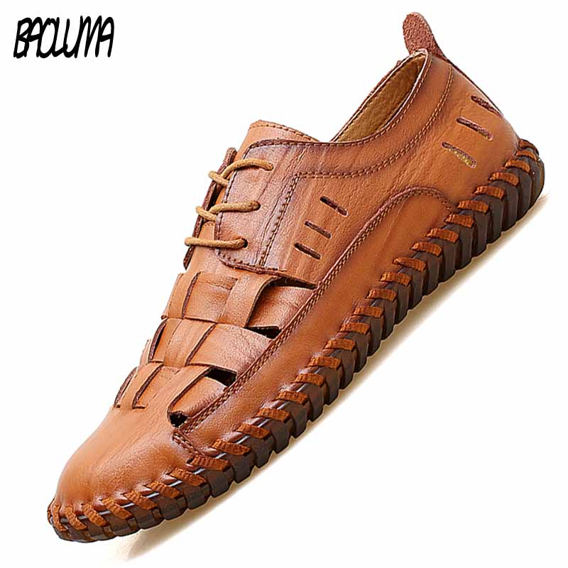 New Men Genuine Cow Leather Sandals Outdoor Summer Handmade Men Shoes Men Beach Breathable Casual Shoes Footwear Walking Sandals