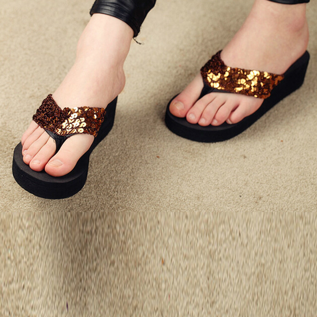 ed34bb04836825 VSEN New slippers female beach sandals for women Rhinestone Crystal wedges  platform elevator slip resistant paillette 5 colors-in Middle Heels from  Shoes on ...