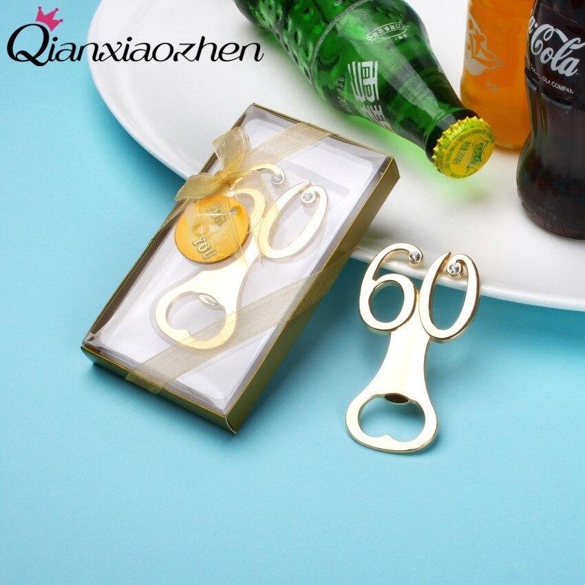 Qianxiaozhen 100 pcs จำนวน 60 ที่เปิดขวดเบียร์ 60th Birthday Favors และผู้เข้าพัก 60th Anniversary ของที่ระลึก Party Supplies-ใน ของขวัญงานปาร์ตี้ จาก บ้านและสวน บน   1