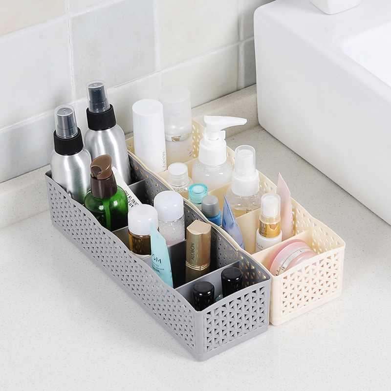 1PCs 5 Grids Plastic Makeup Storage Box Socks Bra Underwear Organizer Closet Storage Box Organizer Home Office Desktop Sundries