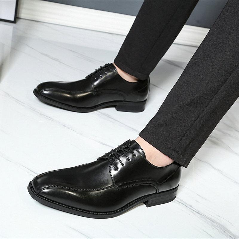 2019 Men Fashion wedding shoes microfiber leather Lace up Non slip formal business Man Dress shoes men's oxford flats TA 04