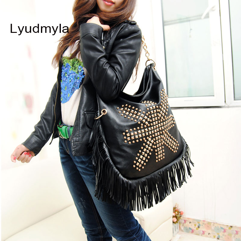 Lyudmyla Tassel Hobo Bags Large Black Handbags Fringe Leather Bag 2017 New Vintage Rivet Shoulder Bags Women Big Causal Handbag original ethnic embroidered women handbag vintage handmade tassel shoulder bags black canvas casual large bags