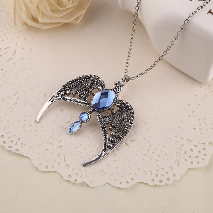 2016 Necklace paragraph The Movie Ravenclaw lost crown necklace Magic Academy Angel wings men jewelry necklaces & pendants