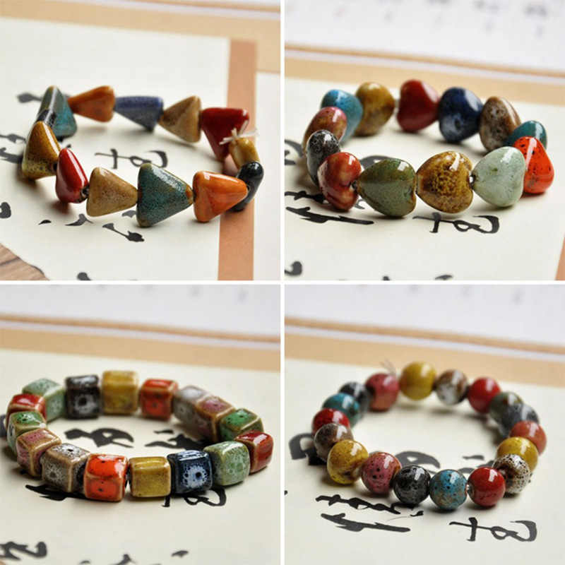 Heart Beaded Bracelets Ceramic Beads Triangle Square Bone Charm Chain Cuff Bangles Wristband Women Men Fashion Jewelry