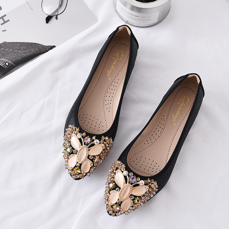 Women 39 s Shoes Ballet Flats Bling Rhinestone Loafers 2019 Spring Handmade Leather Moccasins Glitter Shoes Woman Zapatos Mujer in Women 39 s Flats from Shoes