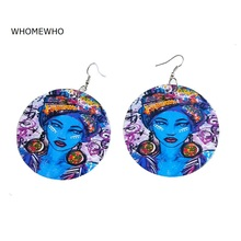 60cm Laser Cut Natural Wood Painting Africa Queen South Map Round Earrings Bohemia Wooden DIY African Jewelry