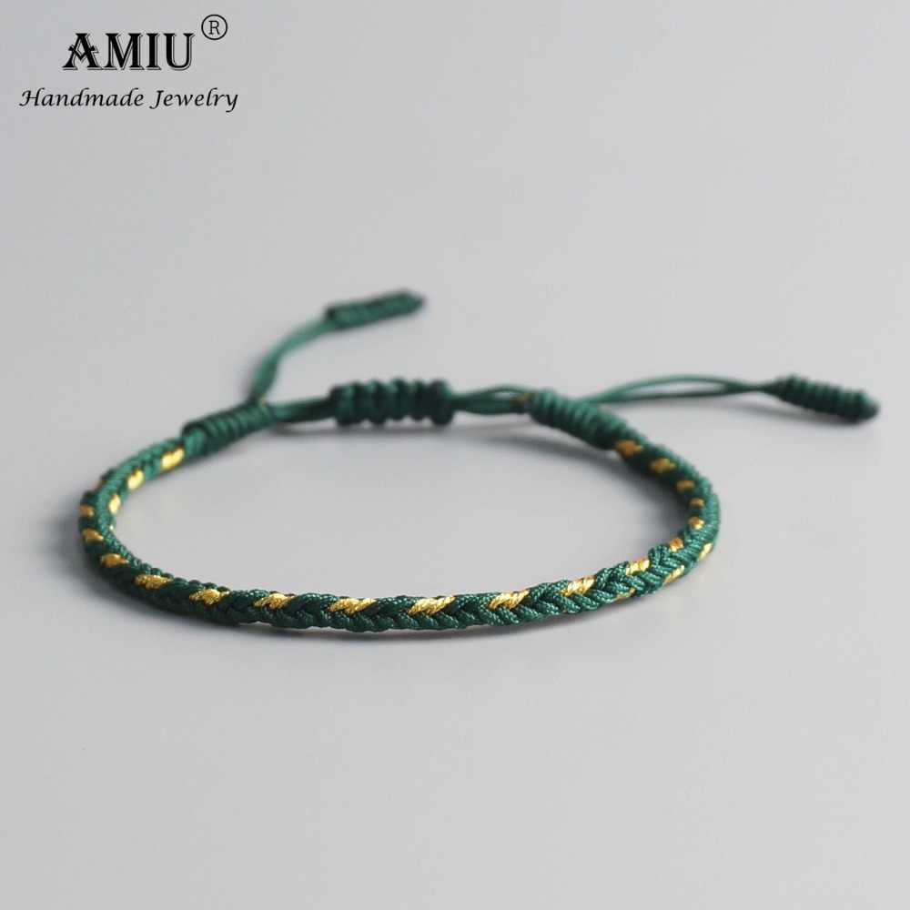 Pulseras y brazaletes budistas tibetanos multicolores AMIU para mujeres y hombres, pulsera de la suerte tibetana con nudos hecha a mano