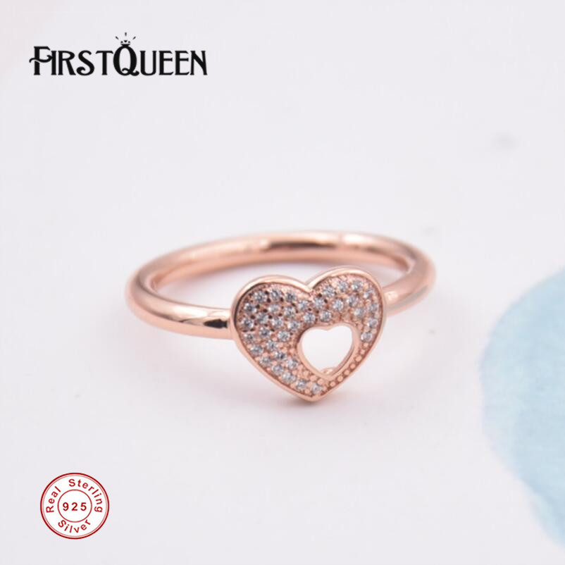 FirstQueen 100% 925 Silver Rose Gold Shimmering Puzzle Heart Frame Ring plata 925 Rings For Women anillos Fine JewelryFirstQueen 100% 925 Silver Rose Gold Shimmering Puzzle Heart Frame Ring plata 925 Rings For Women anillos Fine Jewelry