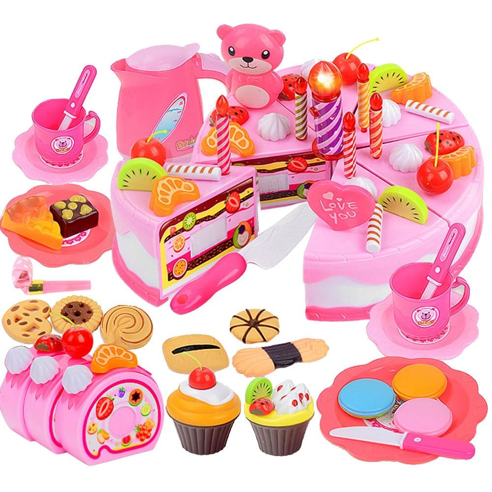 80 PCS DIY Kids Plastic Cake Toy Food Kitchen Educational Pretend Play Toys Cutting Birthday Cookies Dessert Toys Set Gift Toy