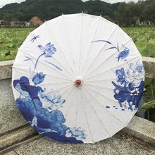 Chuangge Olied Paper Umbrella Rain Women Craft Blue Ink Painting Handmade Long handle Bamboo Chinese Umbrella Japanese Retro(China)
