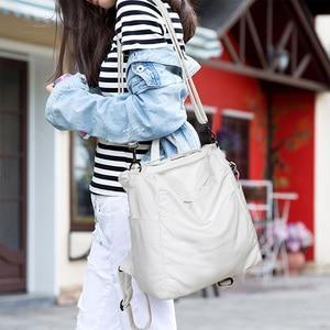 Image 3 - Anti Theft Backpack Women Casual Large Anti theft Backpacks for Travel White Zipper Soft PU Leather Antitheft Backpack Female