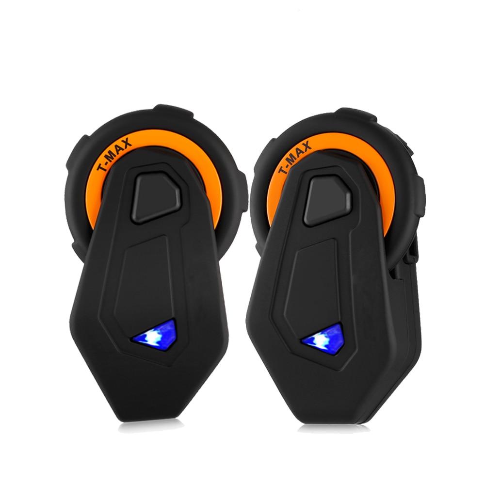 Paire de T-MAX casque de moto interphone casque 2 Interphones Bluetooth mains libres 1500 M 6 coureurs résistant à l'eau Radio FM