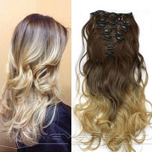 2 Style Fashion Clip In Hair Extensions 7pcs/set 16 Clips Long Hairpiece Curly Wavy False Hair Extentions #8/#25 B40
